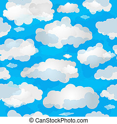 Spring seamless pattern wuth clouds - Spring seamless...
