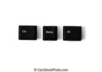 ctrl alt del keyboard keys isolated on the white background