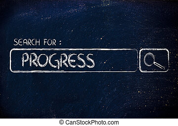 search engine bar, search for progress - seeking progress,...