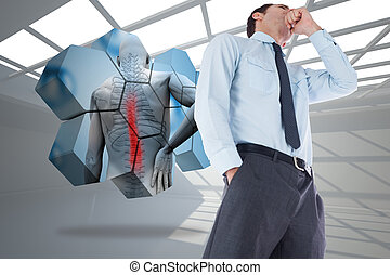 Composite image of thoughtful businessman with hand on chin...