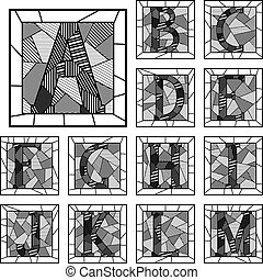 Mosaic capital letters alphabet. - Set of mosaic monochrome...