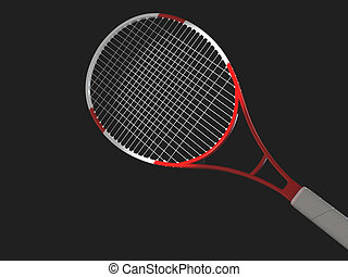 Tennis racket - High resolution image tennis on a black...