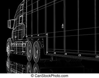 lorry - High resolution image lorry on a black background 3d...