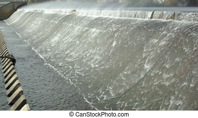 River dam - Mississippi river dam rushing on a windy day...