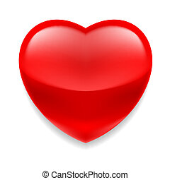 Red glass heart - Red shiny glass heart on white background