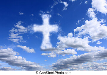 religious cross on cloudy sky background