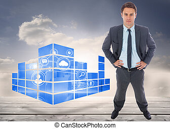 Stern businessman standing with hands on hips against floorboards in the sky