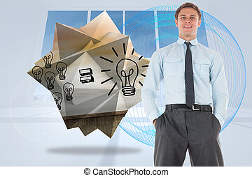 Happy businessman standing with hands in pockets against abstract blue design in white room