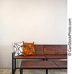 interior, banco, jardín, muebles