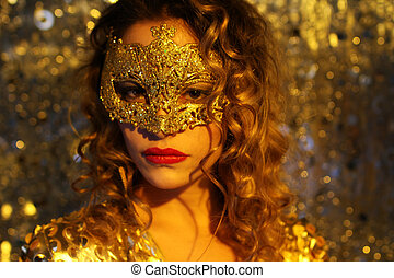 dancing woman with gold mask - beautiful dancing woman in...