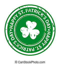 St. patrick's day rubber stamp with shamrock