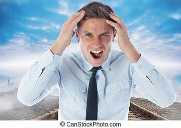 Composite image of stressed businessman shouting - Stressed...