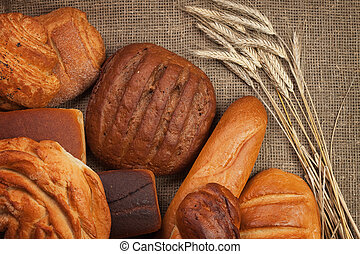 fresh bread with ears of rye