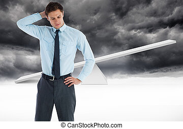 Composite image of thinking businessman with hand on head -...