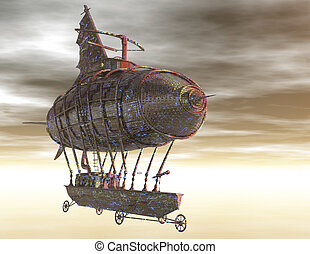 airship - digital rendering of a surrealistic airship