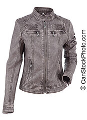 jacket - Woman leather jacket isolated on a white background...