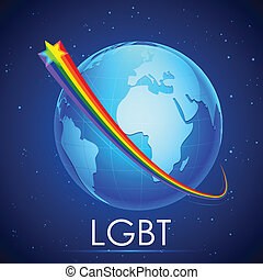 LGBT Awarness Concept - illustration of rainbow flag color...