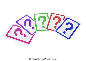 Question Mark Cards on Isolated White Background