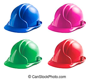 various colors of hard hats on white background