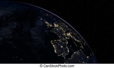 Europe at night. Extremely detailed image, including...