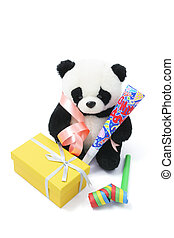 Soft Toy Panda with Party Favors on White Background