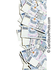 czech money border on white background