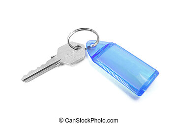 Key with Key Ring on Isolated White Background
