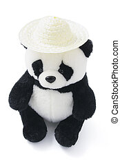 Soft Toy Panda Wearing Straw Hat on White Background