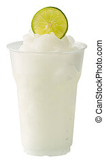 Lime smoothie - Close up lime smoothie in plastic cup...