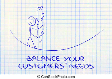 balancing your customers' needs: funny character juggling