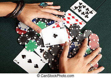 Card gambling - Winning hand, three of a kind, Aces high....
