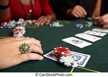 Card gambling - Playing cards, chips and players gambling...