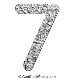 Font aluminum foil texture numeric 7 with shadow