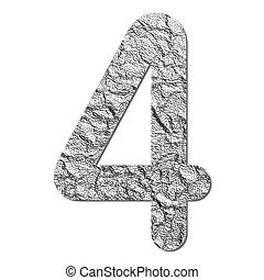 Font aluminum foil texture numeric 4 with shadow