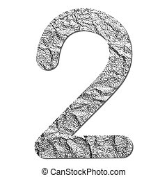 Font aluminum foil texture numeric 2 with shadow