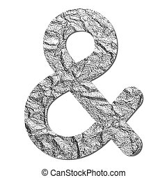 Font aluminum foil texture Ampersand sign with shadow