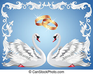 Wedding rings and two swans in retro frame