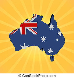 Australia map flag on sunburst illustration