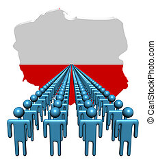 Lines of people with Poland map flag illustration