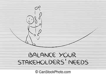 balancing your stakeholders needs: funny character juggling...