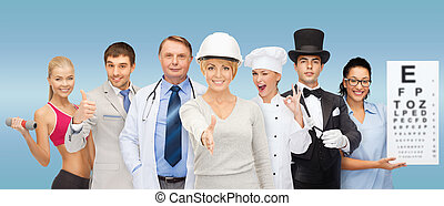 group of people - professions and people concept - group of...