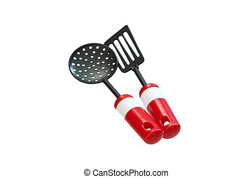 Toy cookware. Isolated.