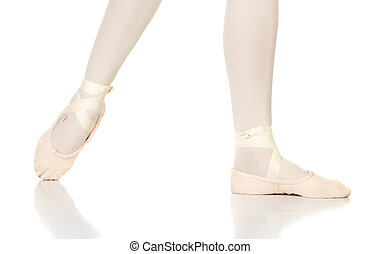 Ballet Feet Positions - Young female ballet dancer showing...