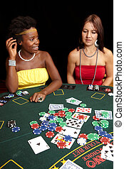 Card gambling - Woman playing cards, chips and players...
