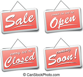 shop signs - detailed illustration of red shop sign with...