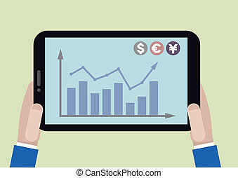 tablet stock chart - minimalistic illustration of a tablet...