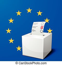 ballot box EU - detailed illustration of a ballot box in...