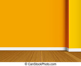 Orange empty interior vector background - Orange and yellow...