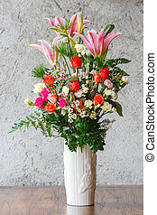 Flower bouquet - Close up colorful carnation rose and lily...