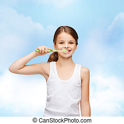 menina, em branco, branca, camisa, Escovar, dela, dentes